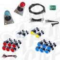 Kit arcade deux joueurs joystick et boutons lumineux chromé