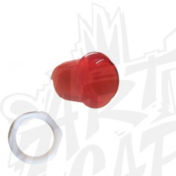 Bouton lumineux transparent rouge 24mm